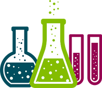 Blue, Green, And Fuchsia Liquids In Chemistry Test Tubes, Beakers, And Flasks